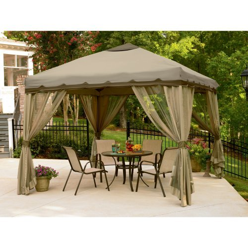 Garden Gazebo, Canopies- This an amazing Square Garden Gazebo 10ft x 10ft Pop Up Gazebo, for patio outdoor parties. The canopies, pergolas brown,roof provides Uv, blocking out rain and snow ,With a double valance and tie-back curtains!Guaranteed!