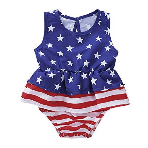 (Huarll Summer Romper Bodysuit for Baby Girl American Flag Print Sleeveless Star Striped Romper Jumpsuit for Toddler (0-6 M,Blue))