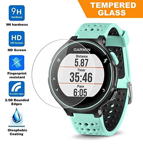 Taslar(TM) Garmin Forerunner 235 225 630 620 220 230 Tempered Glass Screen Protector, High Definition, 9H Hardness, 0.3mm Thickness, Shatterproof, Delicate Touch, Oleophobic Coating, Real Glass