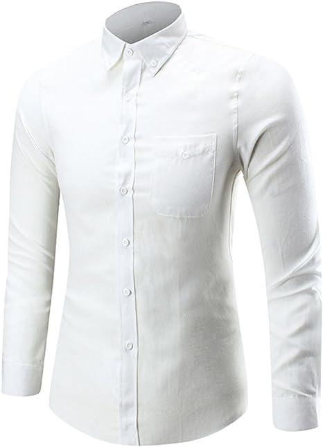Camisas hombre Camisa de manga larga del hombre botón,YanHoo® Mens Casual manga larga camisa negocio Slim Fit Camisas de blusa Estilo otoñal fresco transpirable (Blanco, M): Amazon.es: Iluminación
