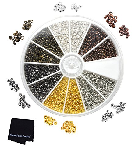 Mandala Crafts Metal Crimp Beads End Spacer Findings Variety Pack Set for Jewelry Making Beading Crafting (Tiny Round 2mm 2.5mm 4500 pcs, Silver Gold Antique Bronze Copper Platinum Gunmetal) -