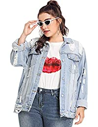 Women's Plus Size Ripped Distressed Long Sleeve Denim Jacket