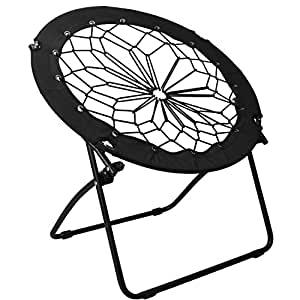 Sharkk Bungee Dish Chair Lightweight and Portable Unique Round Lounge Chair – Indoor and Outdoor Foldable Lawn Chair – Black