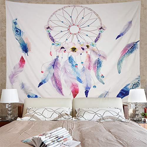 Amonercvita Dreamcatcher Tapestry Colorful Feather Tapestry Wall Hanging Dream Catcher Wall Tapestry Hippie Tapestry Psychedelic Mandala Bohemian Wall Tapestry for Bedroom Decor (Dreams Wall Tapestry)