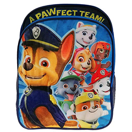 PAW Patrol Boys Backpack with Plush Applique, Blue, One Size]()