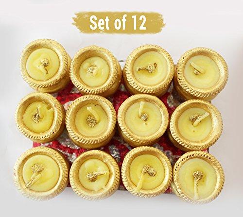 TiedRibbons Handmade Matki Miniature Diya's, Candles for Home Decoration (Golden) Set of 12