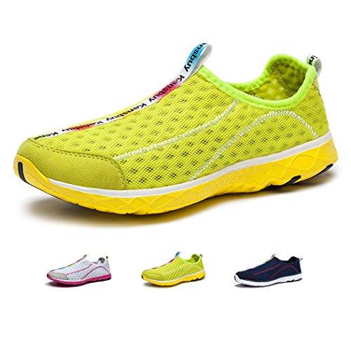 (KENSBUY Women's Quick Drying Aqua Water Shoes Mesh Slip on Sneaker (40 EU (8.5 M US Women), Yellow))