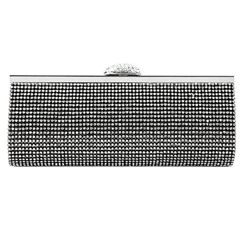 ECOSUSI Elegant Rhinestones Clasp Flap Clutch Evening Handbag Purse Black