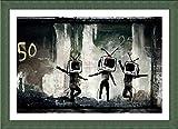 Alonline Art Tv Heads Banksy Green FRAMED POSTER (Print on 100% Cotton CANVAS on foam board) - READY TO HANG | 39''x27'' | Frame Framed Art Oil Paintings Prints Framed Artwork For Bedroom