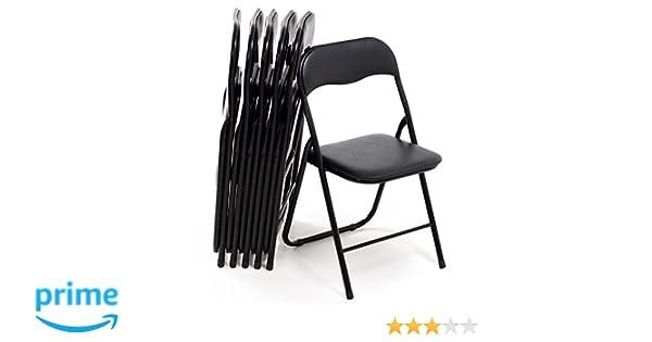 Bricok Juego de 6 sillas Plegables Slim de Metal, sillas para Oficina casa Camping jardín, con cómoda Asiento Acolchado, 44 x 44 x 78 cm, Color Negro