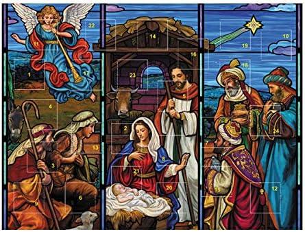 [해외]Needzo Stained Glass Design Nativity Scene Christmas Advent Calendar Pack of 3 / Needzo Stained Glass Design Nativity Scene Christmas Advent Calendar, Pack of 3
