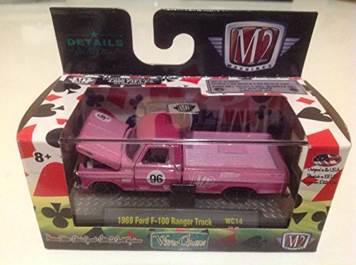 M2 Machines 1:64 Wild Cards 1969 Ford F-100 Ranger Truck Pink WC14