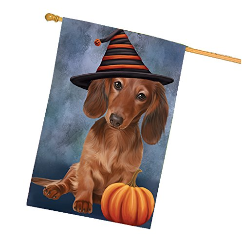 Happy Halloween Dachshunds Dog Wearing Witch Hat with Pumpkin House Flag]()
