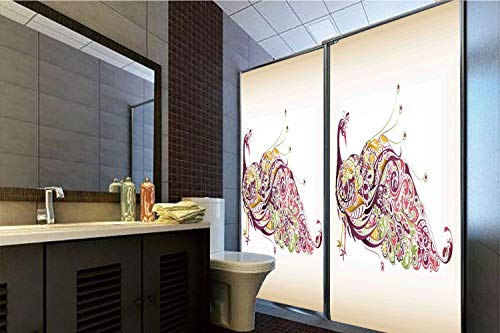 Horrisophie dodo 3D Privacy Window Film No Glue,Peacock,Abstract Bird with Colorful Floral Artistic Feather Design,Dried Rose Earth Yellow Light Green,70.86