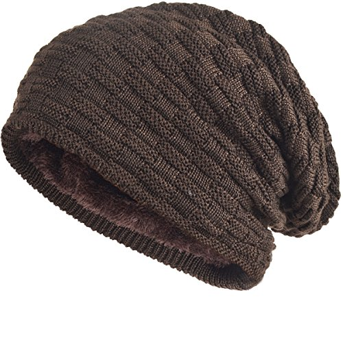- FORBUSITE Cool Men Roll Knit Beanie Rectangular Winter Skullcap Top Hat B754 (Brown)