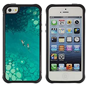 Pulsar iFace Series Tpu silicona Carcasa Funda Case para Apple iPhone SE / iPhone 5 / iPhone 5S , Arte Tropical Blue River verano""