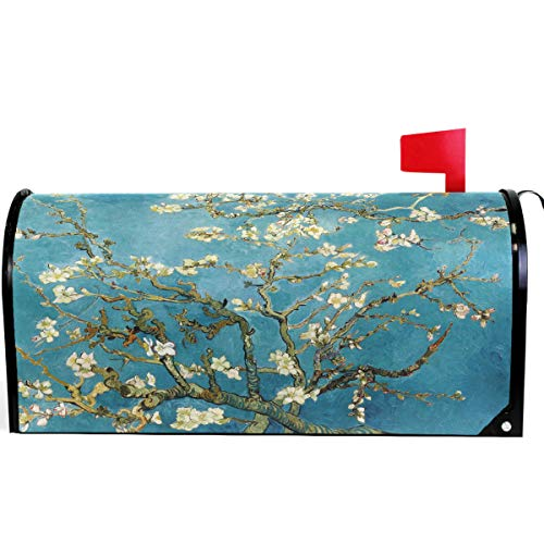 Wamika Van Gogh Bloom Apricot Flowers Mailbox Cover Magnetic Standard Size, Spring Floral Tree Blue Oil Letter Post Box Cover Wrap Decoration Welcome Home Garden Outdoor 21