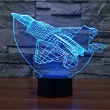 Military Plane 3D Night Light, YKL World Amazing Optical Illusions 7 Changing Colors Acrylic Touch Table Desk Lamp with 150cm USB Cable Great Gifts