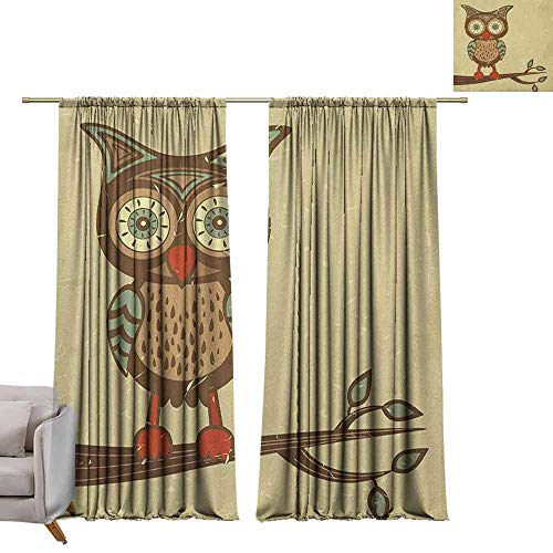 Thermal Insulated Blackout Curtains Owl,Cute Owl Sitting on Branch Eyesight Animal Humor Pastel Retro Modern Graphic, Brown Cream Red Teal W96
