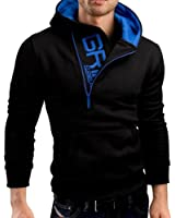 OUCHI Men's Cotton Casual Pullover Hoody Letter Logo Contrast Color Slim Hoodie
