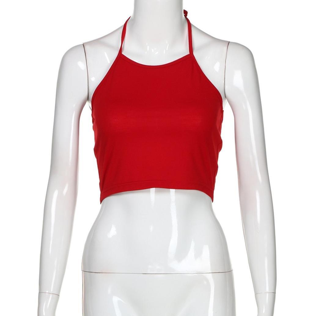 Mujeres Tops Rovinci Verano Camisas Cortas Casual Tops sin Mangas O Camiseta con Cuello Blusa sin Mangas Mujer Sexy Blusa: Amazon.es: Ropa y accesorios