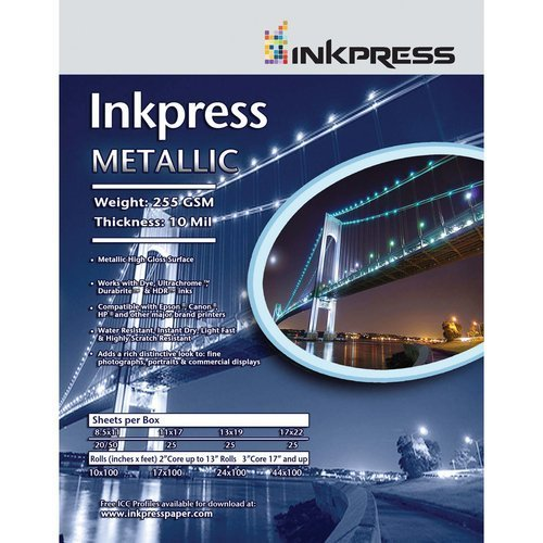 INKPRESS MEDIA Metallic Paper Gloss 255 gsm, 10 mil Photo Quality Paper (#MP5750)