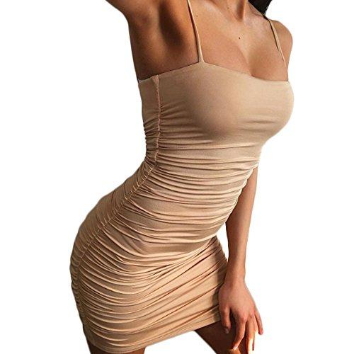 MMIRAG Women's Sexy Spaghetti Strap Sleeveless Ruched Bodycon Mini Club Dresses (Beige, S)