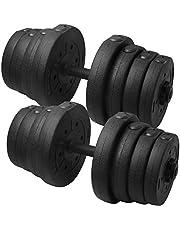 Yaheetech halterset halterset 30 kg incl. 2 stangen & 16 halterschijven halters