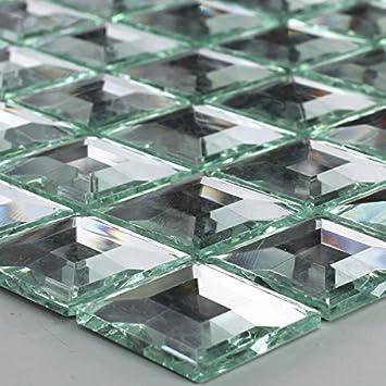 Glasmosaik  Glasmosaik Fliesen 3D Spiegel Effekt Mosaik Silber Speigelmosaik ...