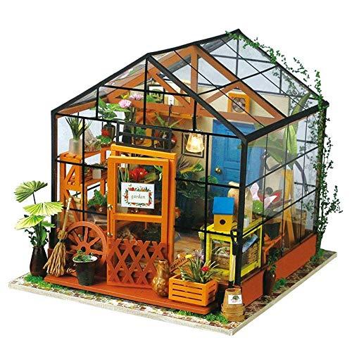 NN1228 Casa de muñecas Invernadero Modelado Bricolaje Conjunto jardín casa de Madera Bolsa de Herramientas artesanales...