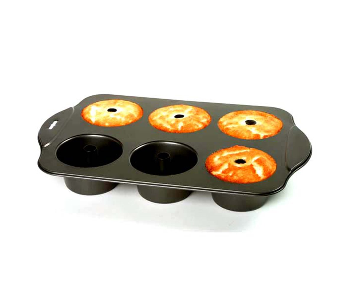 Mozlly Multipack - Norpro Nonstick 6 Cup Mini Angel Food Bundt Cake Pan - 17 x 11 x 2.25 inch - Easy Release and Cleaning - Recipes Included - Kitchen Bakeware (Pack of 3)