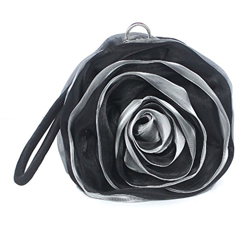 Dilize Wrist Flower Silk Mini Evening Pouch Bag Clutch Money Black Women's Rose rq0xCEwr