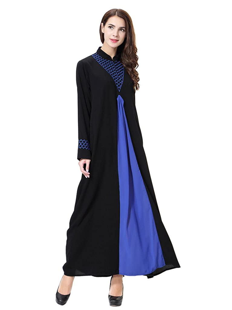 GladThink Womens Muslim Stand Collar Maxi Dress