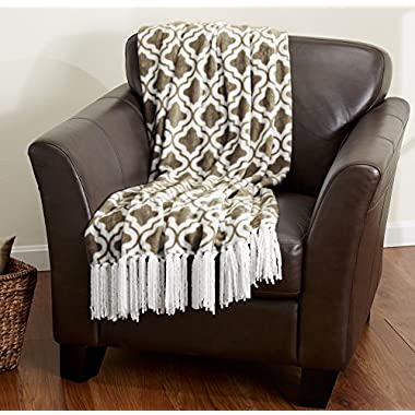 Keller Collection Ultra Velvet Plush Super Soft Blanket. Lightweight Throw Blanket in Beautiful Printed Patterns Featuring a Decorative Fringe. By Home Fashion Designs. (Prairie)