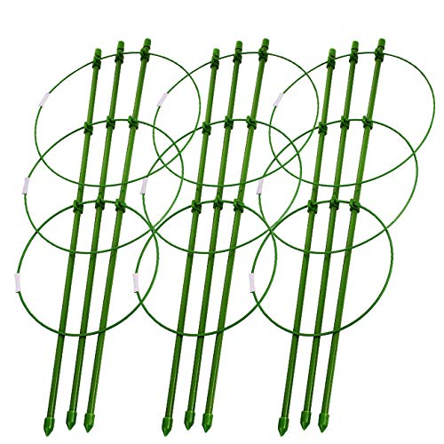 (Sunnyglade Plant Support Cages 18 Inches Plant Cages with 3 Adjustable Rings, Pack of 3 (30