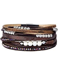 Womens Leather Wrap Bracelet Handmade Pearls Beads Cuff Bangle Bracelets for Women Girls