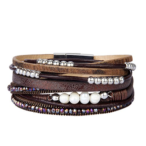 AZORA Brown Leather Wrap Bracelet Crystal Pearls Charm Straps Layered Cuff Jewelry for Women Girls Gift