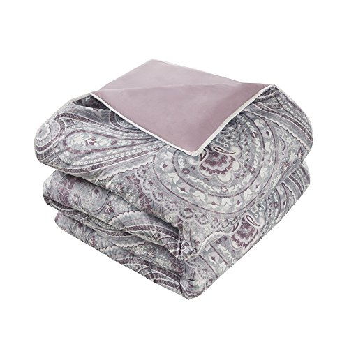 of comfort Spaces Comforter Set Queen Bedding Set Kashmir 8 Piece Plum Purple Paisley make with sound Plum Reverse Hypoallergenic Microfiber compact All Season Comforter complements 100 % Queen