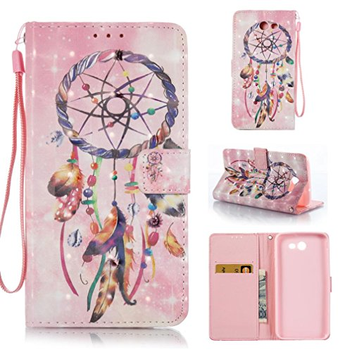 Galaxy J7 V Case, Galaxy J7 Perx Case, Galaxy J7 Sky Pro Case, Galaxy J7 2017 Case, Magnetic Snap Closure Folio Flip Cover With Wallet Cover for Samsung Galaxy J7 2017-Pink