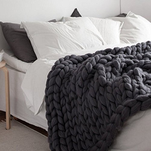 100X150cm Chunky Knit Blanket Merino Wool Blend Arm Knitted Throw Super Large Hand Knitting Yarn Pet Bed Chair Sofa Yoga Mat Rug (Dark Grey)