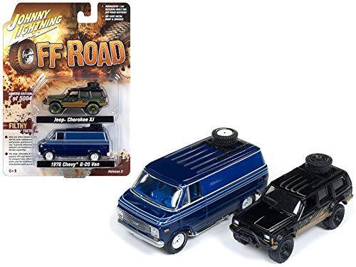 Johnny Lightning 1998 Jeep Cherokee XJ and 1976 Chevrolet G-20 Van Off Road Set of 2 Limited Edition to 5004 pieces Worldwide 1/64 Diecast Model Cars by JLPK003-OFFROAD