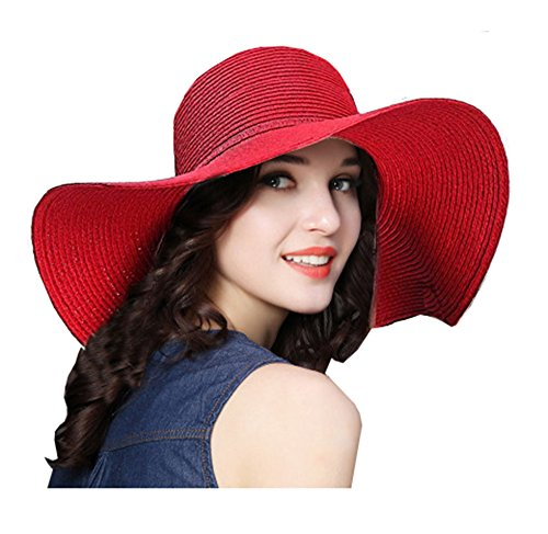 - ZZCC Beach Summer Wide Sun Foldable Hat for Women Red