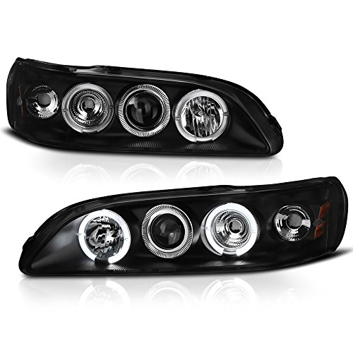 ([For 1998-2002 Honda Accord] LED Halo Ring Black Projector Headlight Headlamp Assembly, Driver & Passenger Side)