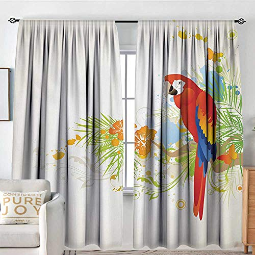 - Blackout Thermal Insulated Window Curtain Valance Parrot,Summer Background with Floral Ornaments and Wise Smart Parrot on Tree Branch,Cream Red Green,Rod Pocket Valances 60