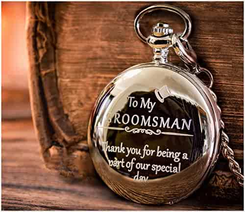 Groomsman Gifts for Wedding | Best Man Gifts - Engraved Groomsmen/Best Man Pocket Watch Wedding Gift