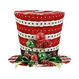 Raz Imports Red White Green Stripes Dots & Jingle Bells Design Top Hat Christmas Tree Topper