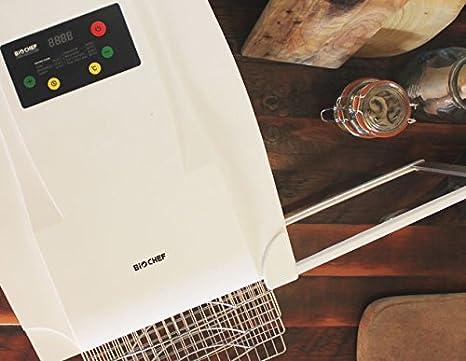 Deshidratador de alimentos BioChef Arizona 10 bandejas de acero inoxidable – Temporizador, puerta transparente, bandejas móviles, BPA Free y Tritan ...