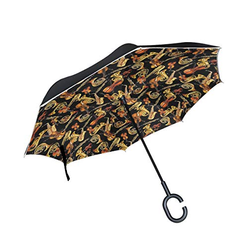 - Gaz X Horns and String Musical Instruments Tossed Black Inverted Umbrella Double Layer Windproof UV Protection Large Upside Down Straight Umbrella for Car Rain with C-Shaped Handle