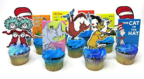 Dr. Seuss Deluxe Birthday Cupcake Topper Set Featuring Seuss Characters and Themed Decorative Accessories -