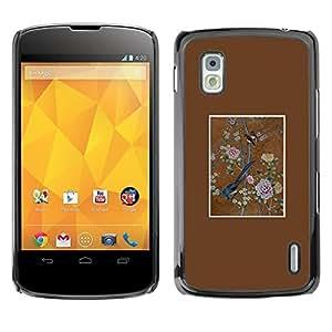 Be Good Phone Accessory // Dura Cáscara cubierta Protectora Caso Carcasa Funda de Protección para LG Google Nexus 4 E960 // Bird Floral Art Painting Vintage